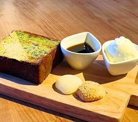 岡山必買伴手禮吉備糰子百年老店「廣榮堂」的附設咖啡廳的吉備糰子、抹茶與黃豆粉現烤丹麥吐司配上香草冰淇淋