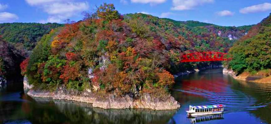 日本山陽山陰楓葉推薦廣島帝釋峽神龍湖