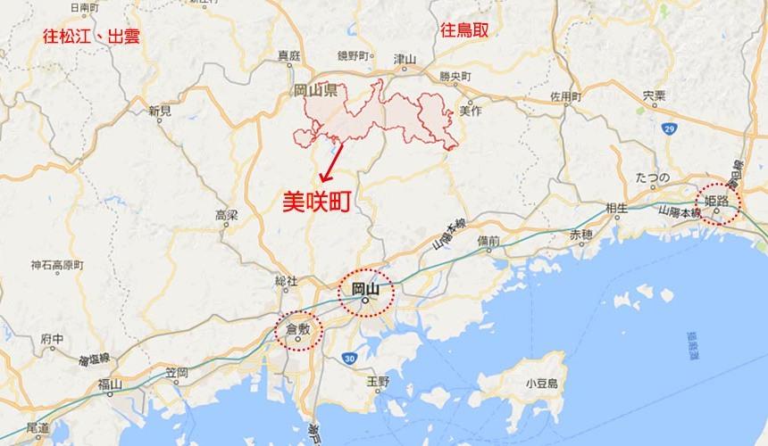日本冈山「美咲町」的地理位置图
