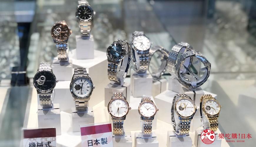 岡山購物必逛「三井 OUTLET PARK 倉敷」內的精工錶商店「SEIKO」的手錶