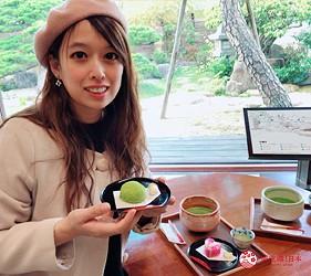 日本山陰地區島根線鳥取縣自由行推薦景點松江歷史館欣賞庭園,吃和菓子