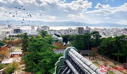 日本山陰地區島根線鳥取縣自由行推薦景點松江城瞭望台景色