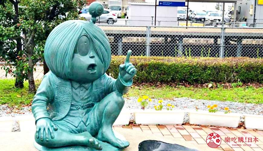 日本山阴地区岛根缐鸟取县自由行推荐景点「水木茂纪念馆」的妖怪铜像
