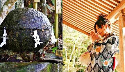 日本山阴地区岛根缐鸟取县自由行推荐景点玉造温泉街的玉作汤神社的祈愿石(愿い石)