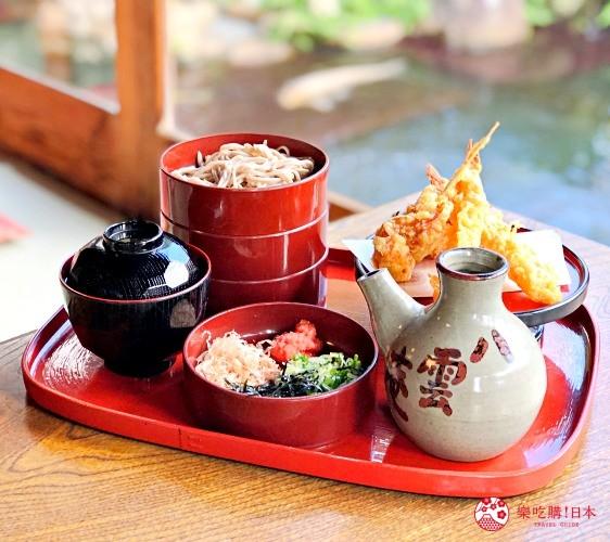 日本山阴地区岛根线鸟取县自由行推荐美食「八云庵」的「三段割子荞麦面」