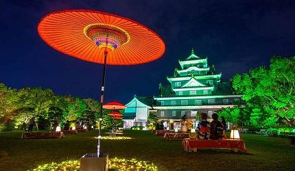 日本冈山县的「冈山后乐园」夜晚景色