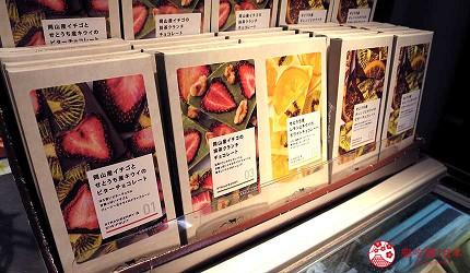 关西旅游用「JR西日本铁路周游券」去冈山车站的「FRUITS CUBE」购买新鲜草莓、奇异果、柠檬、坚果的巧克力