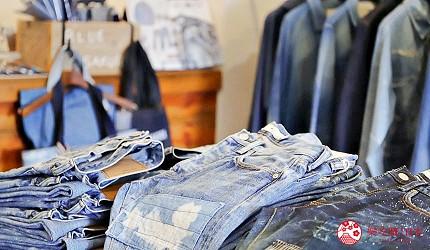 「丹宁之父」石桥秀次在2016年创立的牛仔裤品牌「BLUE SAKURA」店内款式多元