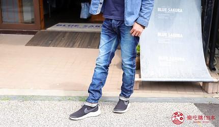 「丹宁之父」石桥秀次在2016年创立的牛仔裤品牌「BLUE SAKURA」卖得最好的一款牛仔裤Lean 3D的正面图