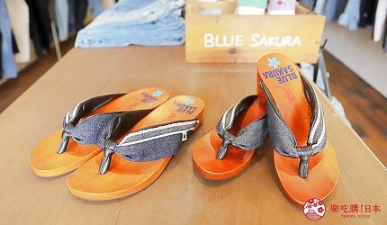 「丹宁之父」石桥秀次在2016年创立的牛仔裤品牌「BLUE SAKURA」店内有售的热卖丹宁木屐