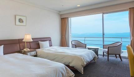 冈山旅游饭店亲子住宿推荐「濑户内钻石酒店」的「标准海景西式双人房」(スタンダードツインルーム)