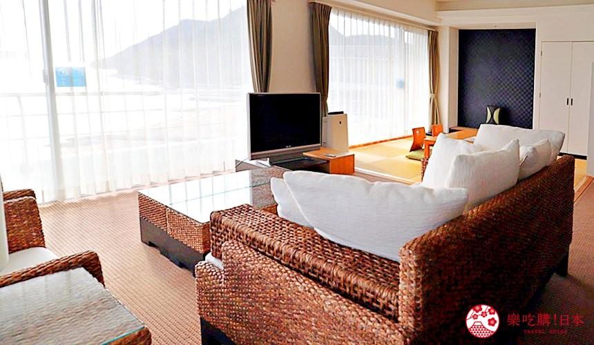 冈山旅游饭店亲子住宿推荐「濑户内钻石酒店」的「海景套房」(スイートルーム)房内一景