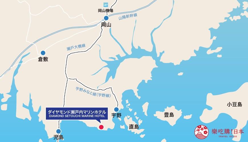 冈山旅游饭店亲子住宿推荐「濑户内钻石酒店」地理位置示意图