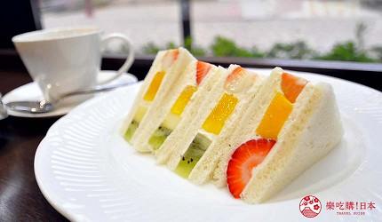 岛根鸟取自由行必吃美食推荐三明治与芭菲店家「Fruit Cafeハタノ」的水果三明治