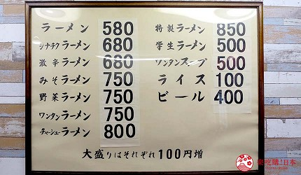 岛根鸟取自由行必吃美食推荐拉面专门店「天心」的拉面菜单