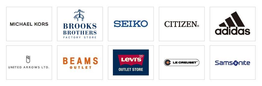 岡山購物必逛「三井 OUTLET PARK 倉敷」內駐店的品牌商標示意圖