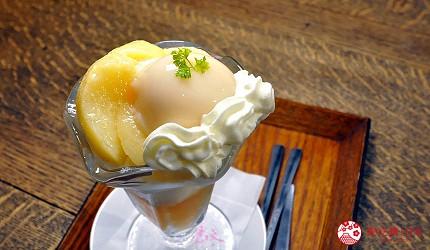 冈山人气吉备景点推荐仓敷水果甜品名店「仓敷桃子」(くらしき桃子)的白桃圣代