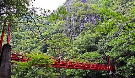日本山阳山阴「山口市」的长门峡吊桥