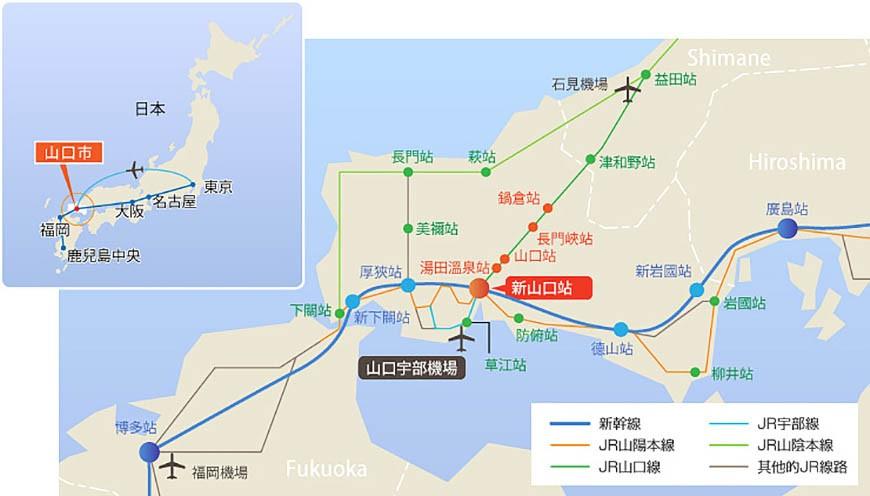 日本山阳山阴「山口市」的地图示意图