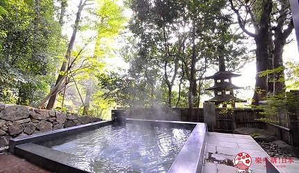 日本山阳山阴「山口市」的温泉旅馆「山水园」的外汤