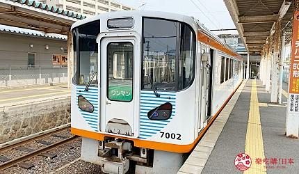 島根鐵道旅行1日遊行程推薦推介可以去到出雲大社、松江城、堀川熱們景點的一畑電車的7000系列車外形