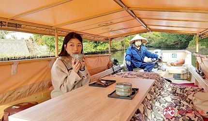 島根鐵道旅行1日遊行程推薦推介可以去到出雲大社、松江城、堀川熱們景點的一畑電車可前往的的松江堀川遊覽觀光船上可以賞茶食茶點