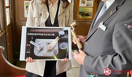 島根鐵道旅行1日遊行程推薦推介可以去到出雲大社、松江城、堀川熱們景點的一畑電車可以去體驗試駛 DEHANI 50形電車的雲州平田站內的DEHANI 50形電車的駕駛說明